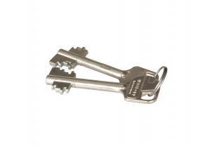Dubbelbaard sleutel, korte steellengte. Totale lengte is max. 85 mm
